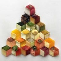 פריטים שונים מחיי היום יום כמו צימרנים או שאריות של אוכל שהפכו לפטרנים יצירתיים.